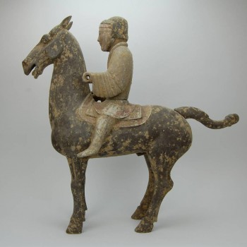 Terracota horse with rider, Han dynasty